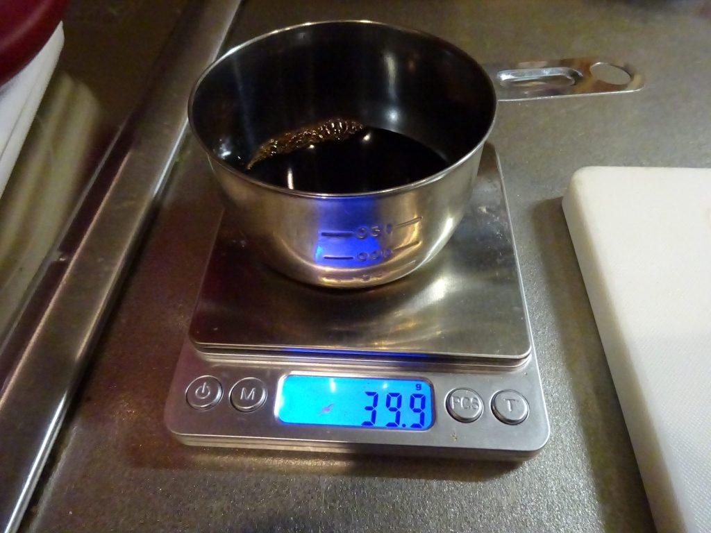 重量に対して3.5%のしょうゆを投入