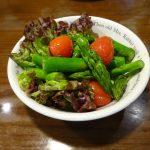 ヘルシオで試作「アスパラとミニトマトの蒸しサラダ」