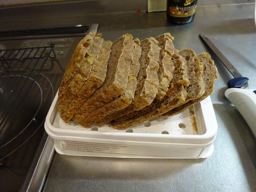 全粒粉100%のパン薄切り完成
