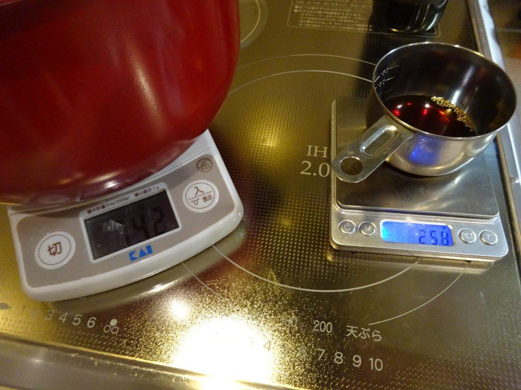 具材総重量3.5%の醤油投入
