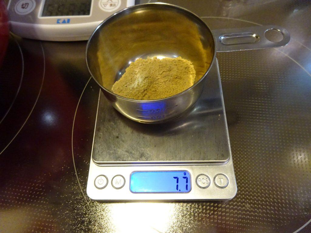 大さじ1杯の煮干し粉の重さは7.7g