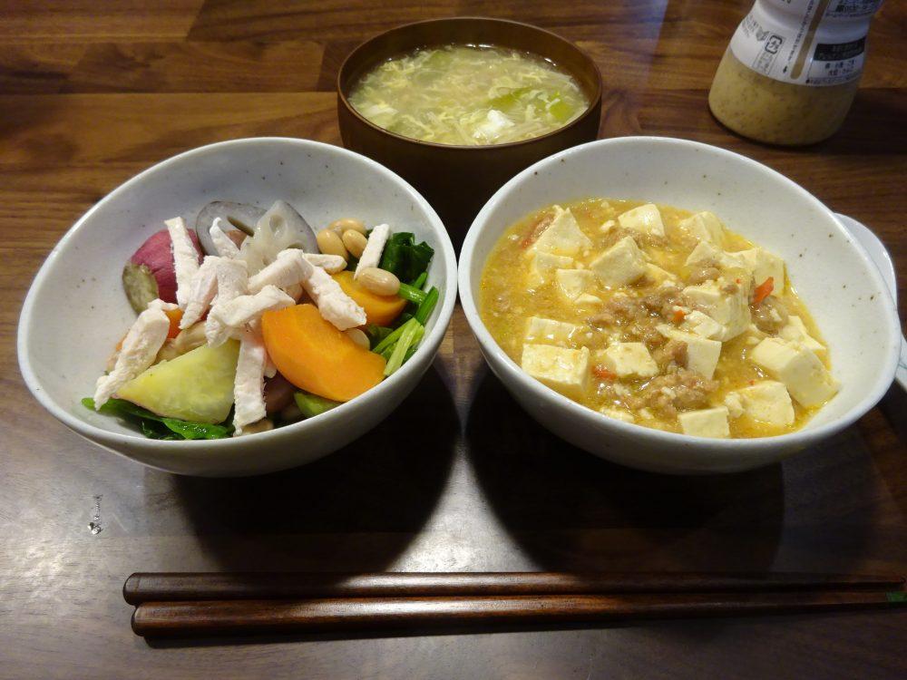 麻婆豆腐の夕食