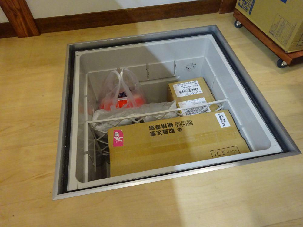 非常用食料と水とコンロガスを床下に保存
