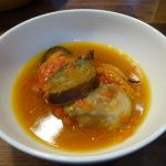 ヘルシオで豚バラ肉とトマトの黒酢スープ