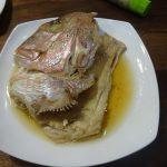 ホットクックでタイのあら炊き、適正な水は具材の60%位かな?