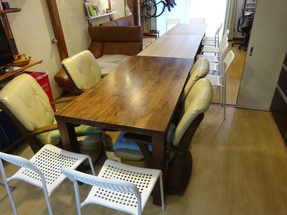 薄型収納できるイベント用ダイニングテーブルの改良版で自宅をイベント会場化