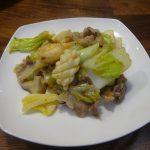 冷凍の豚タン薄切りと白菜の辛みそ炒め