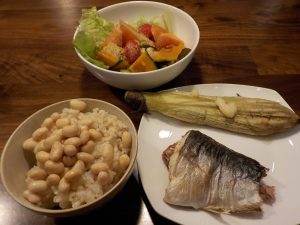 焼き魚と焼きナスの同時調理