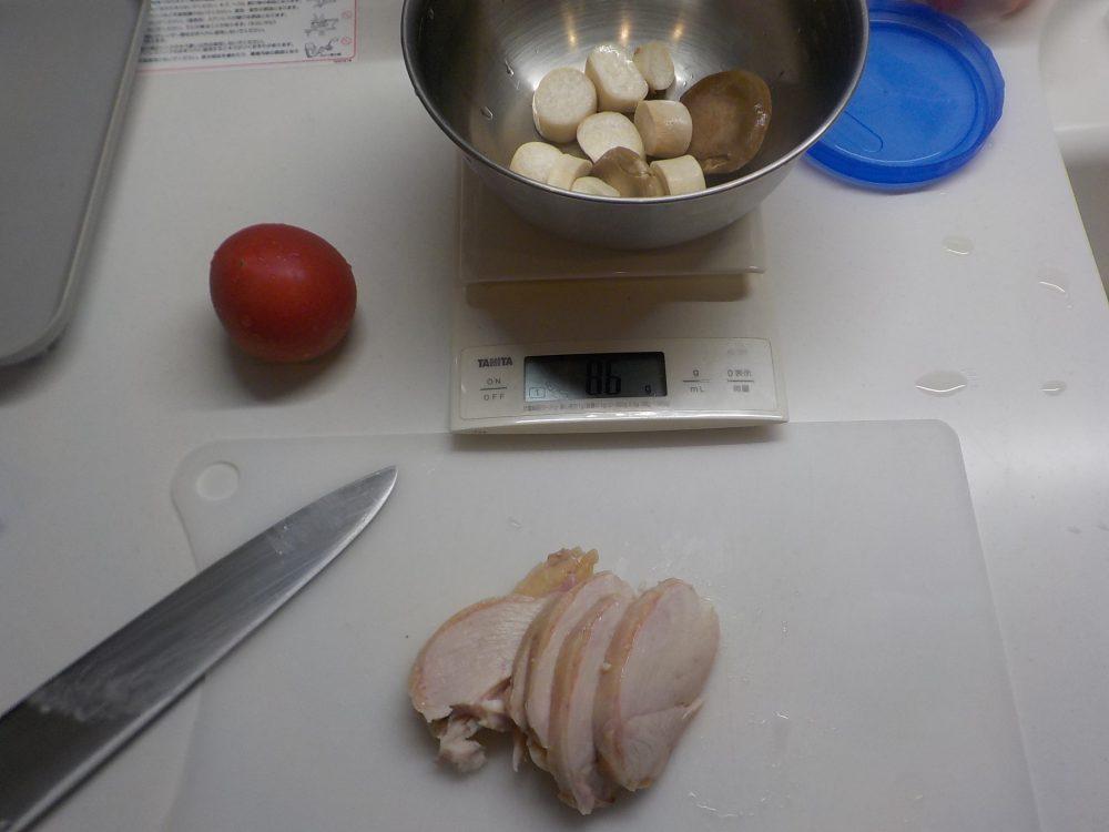 鶏ハムとトマト、エリンギのピリ辛醤油
