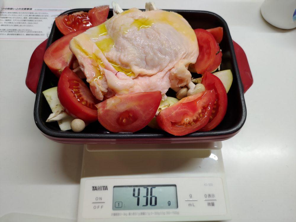 ヘルシオに任せて手間なし、グラタン皿で作る鶏もも肉のステーキ